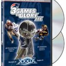 3 games to glory III - 2004 new england patriots super bowl XXXIX DVD 2005 NFL warner used