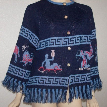 Vintage Astrology Zodiac Hippie Fringe Cardigan Sweater