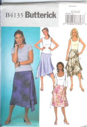 Butterick B4135 Sewing Pattern Misses Skirt Size 12,14,16