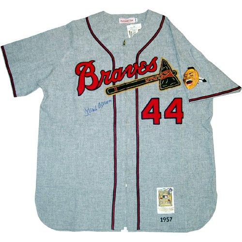 Hank Aaron Autographed 1957 Grey Milwaukee Braves Replica Jersey