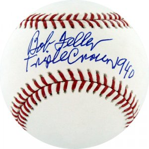 Bob Feller Autographed Triple Crown 1940 Inscription Baseball