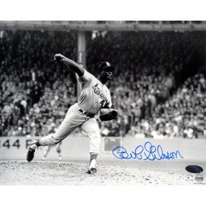 Bob Gibson Autographed Pitch Black & White 8x10 Photograph