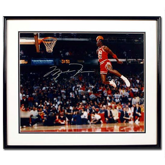 Michael Jordan Autographed Chicago Bulls -Gatorade Slam Dunk- 16x20 Photo - Framed (UDA)