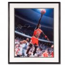 Michael Jordan Autographed Chicago Bulls -#12 Red Jersey- 16x20 Photo - Framed (UDA)