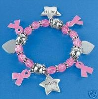Beaded Pink Ribbon Breast Cancer Charm Bracelet