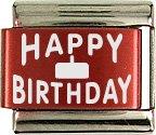 Happy Birthday Red Laser Italian Charm