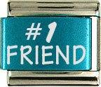 #1 Friend Turquoise Laser Charm