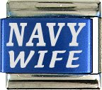 Navy Wife Turquoise Italian Laser Charm