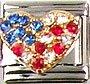 Beautiful Rhinestone Patriotic Heart Italian Charm