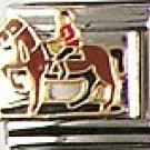 Horse and Jockey Italian Charm