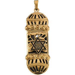 14k Yellow Gold Mezuzah Pendant with Blue Enamel
