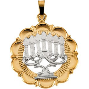 14k Two Tone Menorah Gold Pendant