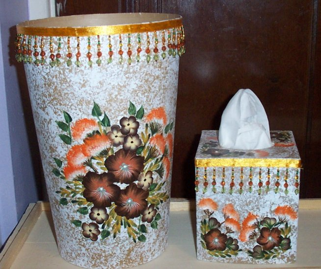 Brown & Orange Flowered Bath Set