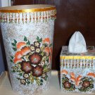 Brown & Orange Flowered Bath Set