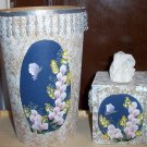 Blue Flowered Bath Set