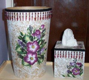 Burgundy Flowered Bath Set