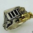 Abydos Temple Egyptian Lion ring 10 Karat gold sterling