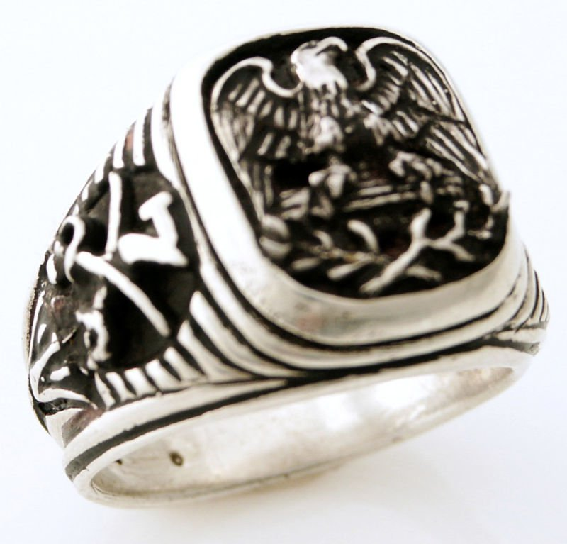 American Eagle Mens US 7th Cavalry ring sterling silver
