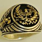10 Karat Gold Roman Eagle Fasces signet silver pinky ring