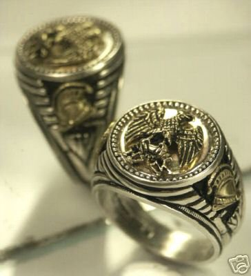 Napoleonic War Eagle Mens Coin ring Sterling Silver