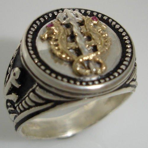 10 Karat Gold Venetian Seahorse Mens Coin ring