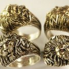LARGE LION Head Mens ring 2-tone Sterling Silver Ruby