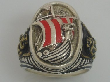 Viking Dragonship Mens silver ring