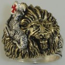 Christian LION lies with Lamb  Mens ring        Sterling Silver