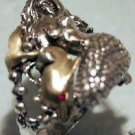 Mermaid Golden Dolphin ring Sterling Silver Large