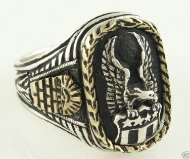 Seal of United States silver Eagle 10k Gold Wreath ring