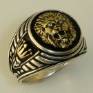 10 Karat Gold  Roman lion Crown signet silver ring
