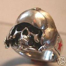MIG15 Aviator Commerative Skull Ring  Sterling Silver