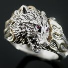 WOLFSHEAD  FLAME Motorcycle  Skull ring     Sterling Silver