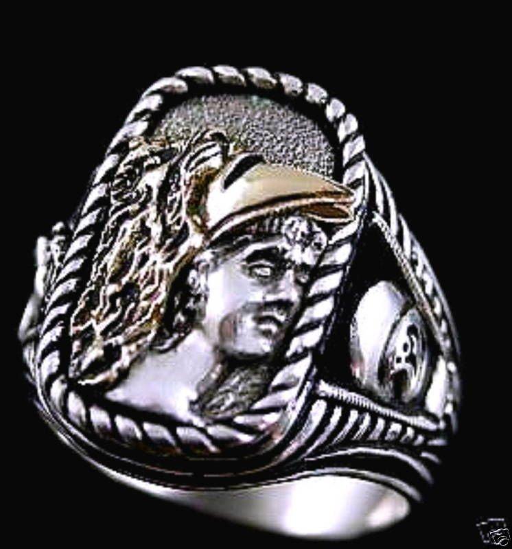Alexander the Great 10 Karat Gold Helmet ring ster silv