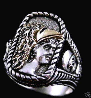Alexander the Great 10 Karat Gold Helmet ring ster silv