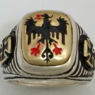 10 Karat Gold  Teutonic Eagle Iron cross   Sterling Silver ring Lge