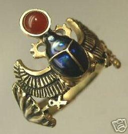 Egyptian18 Karat Gold Winged Scarab ring
