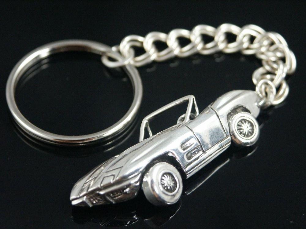 Corvette Stingray Key ring chain     Sterling Silver