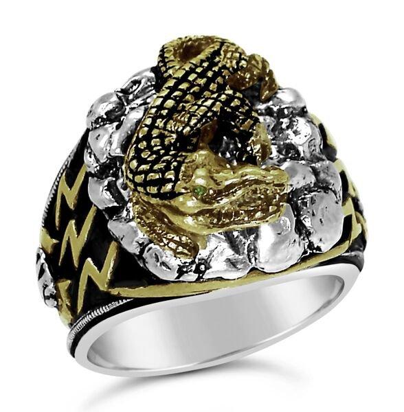 Blue Nile Egyptian Crocodile  Mens ring        Sterling Silver Emerald Lge.