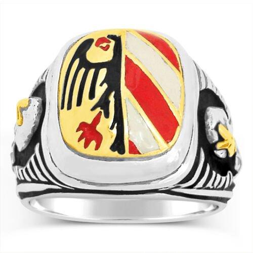 10 Karat Gold Nurnberg Eagle Teutonic Knights  ring Sterling Silver Lge
