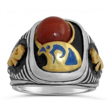 Egyptian 10 karat Gold Falcon Horus Signet    Sterling Silver 925 ring