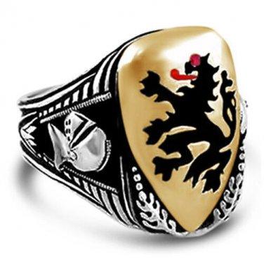 Heraldic Lion Mens Shield ring   sterling silver Bronze
