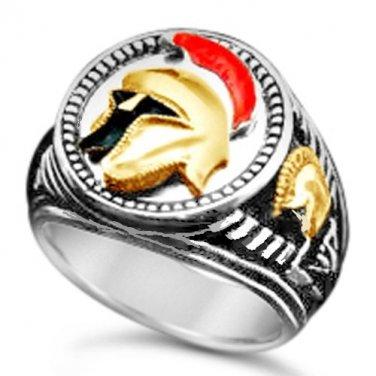 TROJAN  Helmet Mens Signet ring    Sterling Silver Lge