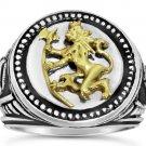 Norse Lion Mens signet Coin ring   Bluekorps Nordnaes Battalion Sterling silver