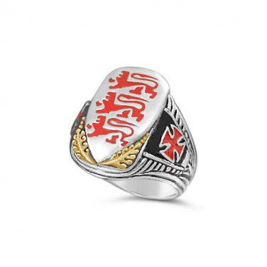 Richard the Lionheart Shield  10k gold Ster Silver ring