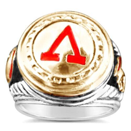 300 Spartan Mens Signet Shield ring     Sterling Silver