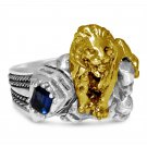 New York 42 street 10 Karat Gold lion    sterling silver ring