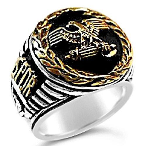 Roman Tribune Eagle mens signet ring    Sterling Silver