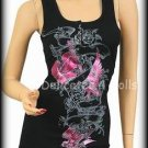 Black & Hot Pink and Guitar Punk Foil Tank