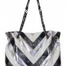 BLACK SILVER SHOULDER FASHION HANDBAG